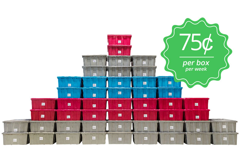 Stacked Plastic Moving Bins for Rent in Mississauga, Toronto & Ontario, Canada